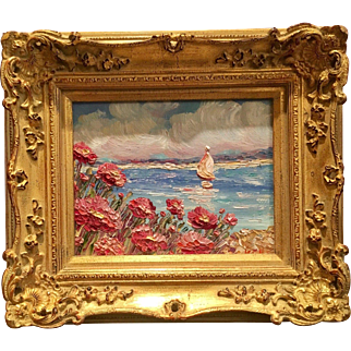 """Abstract Seascape Impasto"", Original Oil Painting by artist Sarah Kadlic, Gilt Wood Carved French Frame"
