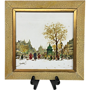 Wonderful Vintage French Paris, France Mid-Century 1950s Original Oil Paintings on Tile Signed - Red Tag Sale Item