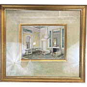 Beautiful 1930s Original Artist Interior Sketch Illustration Painting Drawing Watercolor with Gilt Gold Frame