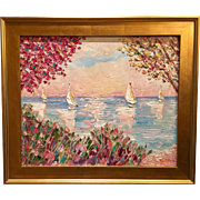 """Abstract Trees Seascape Landscape"", Original Oil Painting by artist Sarah Kadlic, 24x20"" + Gilt Frame"