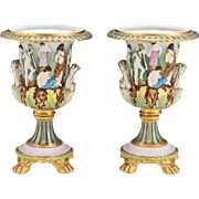 German Pair of Porcelain Scenic Vases, Attributed to Carl Thieme Porcelain Factory Potschappel, Germany, Late 19th Century