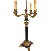 Stunning Large French Empire Gilt Bronze Chandelier Lam with Three Arms, 19th Century