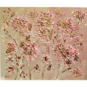 """Pale Pink Blossoms with Gilt Leaf"", Original Oil Painting by artist Sarah Kadlic, 24""x20""."