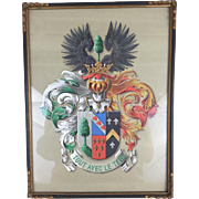 Antique Original Gouache Painting Hand Painted French Coat of Arms 8x10