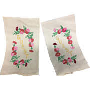 Pair of Two Guest Towels  with Hand Stitched Pink Yellow Floral Embroidery
