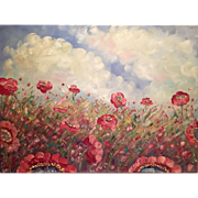 """Abstract Wild Poppies Red and Pink"", Original Oil Painting by artist Sarah Kadlic"