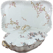 Beautiful Haviland Limoges Porcelain Large Floral Gilt Rectangular Serving Platter and Lidded Serving Dish