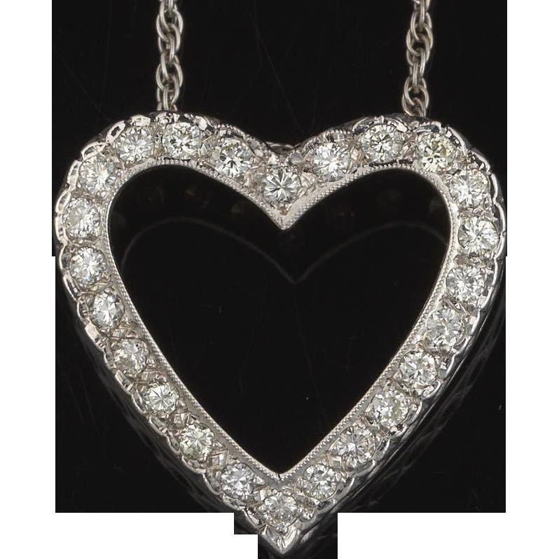 Stunning high quality large brilliant white diamond heart necklace stunning high quality large brilliant white diamond heart necklace courtland jewels ruby lane aloadofball Choice Image