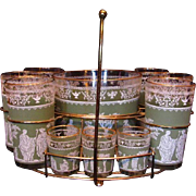Chic and Retro Cool Mid-Century Sage Green Greek / Roman Bar Set: Tumbler & Shot Glasses with Ice Bucket & Rack
