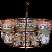 Chic and Retro Cool Mid-Century Sage Green Greek / Roman Bar Set: Tumbler & Shot Glasses with Ice Bucket & Rack