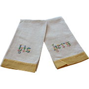 """Adorable Pair of Vintage Cream Yellow Linen Towels With Embroidery """"His"""" and """"Hers"""""""