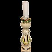 "Adorable!! Vintage Antique Porcelain Candlestick Candle Holder Italian Pottery Tole, 8"""