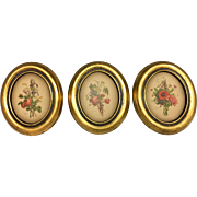 Lovely set of Three Italian Tole Tole Plaster Plaques Floral Prevost Decoupage with Gilt Leaf Surround