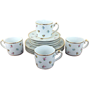 Gorgeous I. Godinger Scattered Floral Porcelain Dessert Plates Mugs Saucers Set For Four