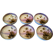 Stunning Set of Six Hand Painted Japanese Porcelain Salt Cellars Dishes