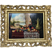 Stunning Realism Original Oil Painting Listed Artist Johan Karoly Reinprecht Gilt Framed #1