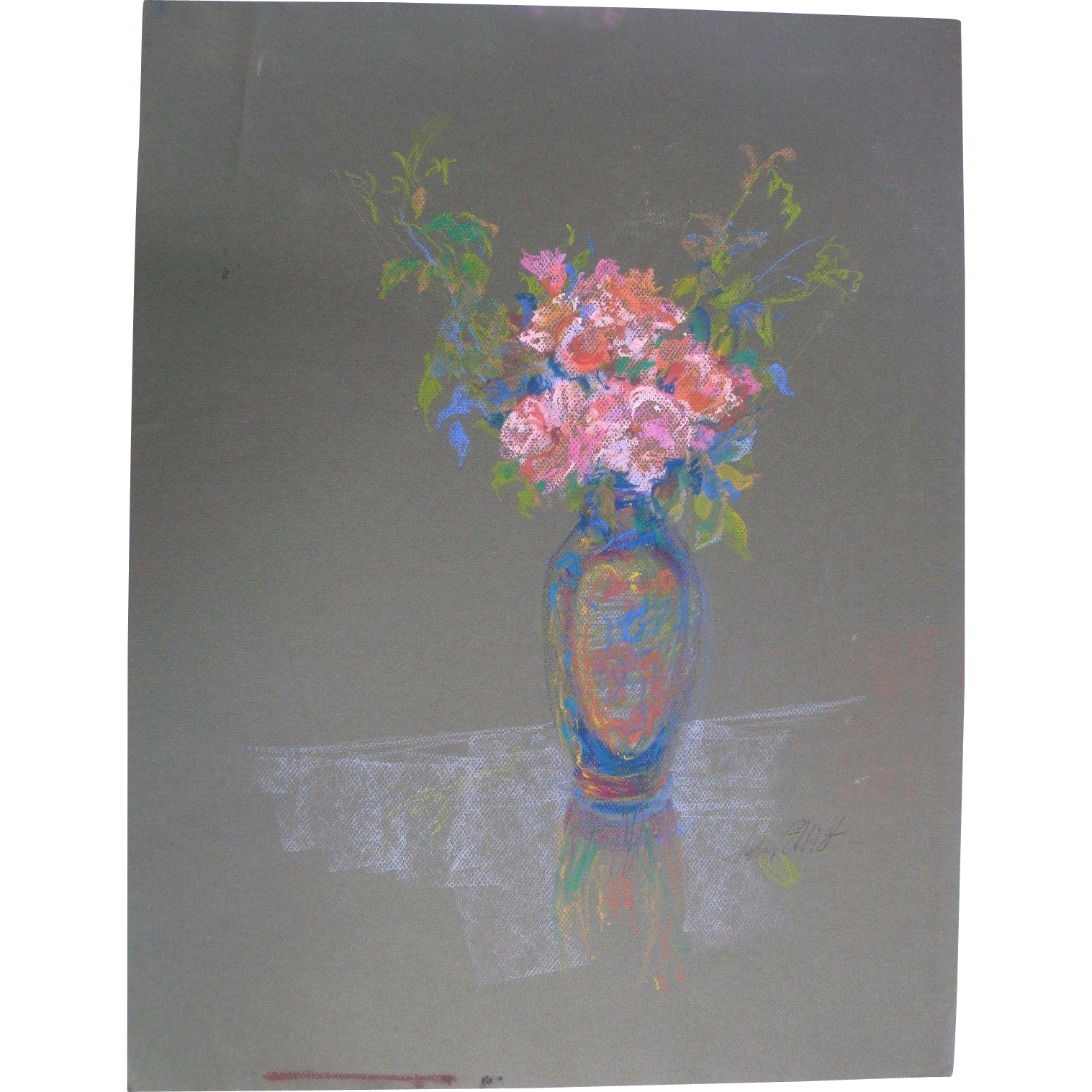 Beautiful Original Oil Pastel Drawing Painting by Nationally Acclaimed Listed Artist John Elliot - Red Tag Sale Item