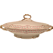Beautiful Antique J. Pouyat Limoges Fine Porcelain Covered Serving Bowl / Tureen in a lovely Floral Swag Pattern