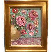 """Wild Flowers in Vase"", Original Oil Painting by artist Sarah Kadlic, Chunky Gilt Wood Frame 16x20"""