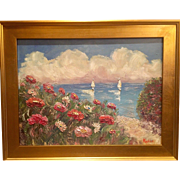 """Impressions: Seascape with Sailboats "", Original Oil Painting by artist Sarah Kadlic, 24x20"" Gilt Leaf Frame"