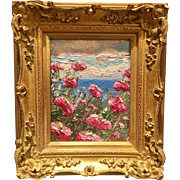 """Abstract Pink Poppies Seascape Impasto"", 8x10"" Carved French Frame Original Oil Painting by artist Sarah Kadlic"
