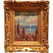 """Abstract Seascape Impasto"", Original Oil Painting by artist Sarah Kadlic, 8x10 With Giltwood Leaf French Frame"