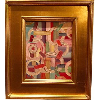 """Abstract Impasto of Color"", Original Oil Painting by artist Sarah Kadlic, 8x10 with Gilt Leaf Wood Frame 15"""