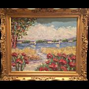 """French Riviera Poppies"", Original Oil Painting by artist Sarah Kadlic, 20x24"" Gilt Frame"
