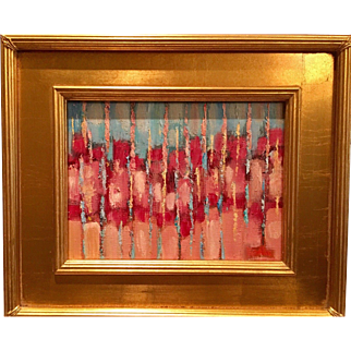 """Abstract Impasto of Pinks, Blues and Peach Color"", Original Oil Painting by artist Sarah Kadlic, 9x12 Gilt Leaf Wood Frame"