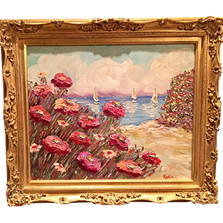 """Abstract Seascape Floral"", Original Oil Painting by artist Sarah Kadlic, 24x20"" with Carved French Gilt Wood Frame"