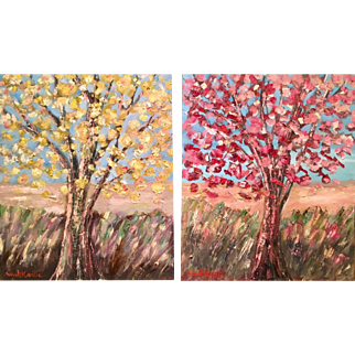 """Abstract Impasto Trees Landscape"", Diptych Set 48x20"" Original Sarah Kadlic Oil Painting"