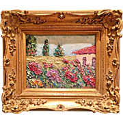 """Abstract Villa & Wildflowers"", Original Oil Painting by artist Sarah Kadlic, 8x10"" European Gilt Leaf Frame"