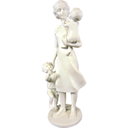 Beautiful Bisque Parian Porcelain Figurine of Mother and Child Children Sculpture