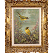 """Stunning Gilt Framed """"Kentucky Warblers"""" Original Oil Painting by Listed 20th century American (Florida) Artist Don Lemon"""
