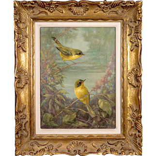 "Stunning Gilt Framed ""Kentucky Warblers"" Original Oil Painting by Listed 20th century American (Florida) Artist Don Lemon"