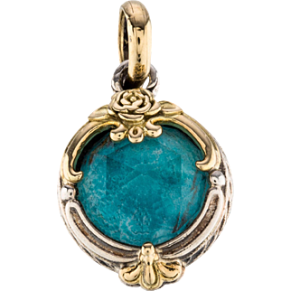 "Beautiful Sterling Silver 0.75"" 18K Gold Yellow Konstantino Pendant Featuring Doublet & Faceted Blue Quartz Accent."