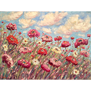 """Abstract Impasto Pink Poppies Summer Landscape"", Original Oil Painting by artist Sarah Kadlic, 40x30"""