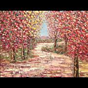 """Abstract Summer Trees Landscape Impasto"", Original Oil Painting by artist Sarah Kadlic, 30x40"" on Canvas"