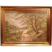 "Beautiful Large Antique Dutch Landscape ""Summer Day"" Signed Original Oil Painting, 1900's"