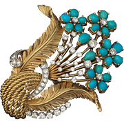 Stunning and VERY Impressive Retro Turquoise, 2.0cttw Diamond and 18k Gold Bouquet Brooch Pendant