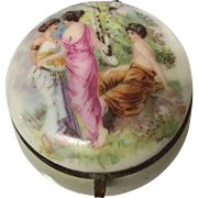 Beautiful 1920s-1940s Porcelain Pillbox Women Painting with Opalescent finish, marked Germany