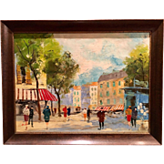Beautiful Mid Century 1940s-1950s Abstract French Oil Painting on Canvas of a Paris Street Scene by Listed Artist La Brune