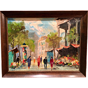 Beautiful Mid Century 1940s-1950s Abstract French Oil Painting on Canvas of a Paris Street Scene by Listed Artist La Brune #3