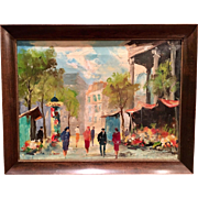 Beautiful Mid Century 1940s-1950s Abstract French Oil Painting on Canvas of a Paris Street Scene by Listed Artist La Brune.