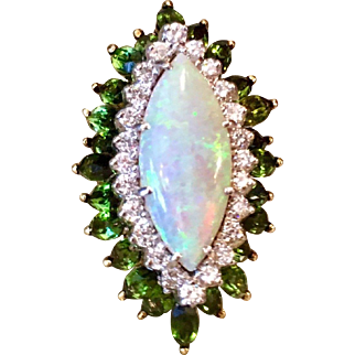 Impressive La Triomphe Designer 18K Yellow Gold Opal Cabochon and 5.28 Cttw Green Tourmaline Diamond Cocktail Ring