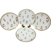 Set of Four Lovely Vintage 1900s Estate Gold and Floral French Limoges Dessert Plates, 6.25""
