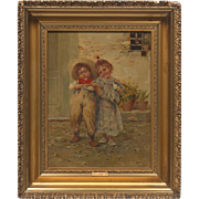 "Stunning 19th Century Original Oil Painting by Listed Italian Artist Liroil, Children Playing ""My Girl"""
