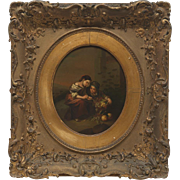 Lovely 19th Century or Earlier Original Oil Painting in Stunning Gilt Wood Frame, One of a Pair Available