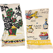 Pair Set Vintage Tea Towels Geraniums and Lobster Newbury Recipe