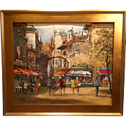 Beautiful Vintage French Mid Century Paris Street Original Oil Painting of France by Louis Basset, Gilt Frame